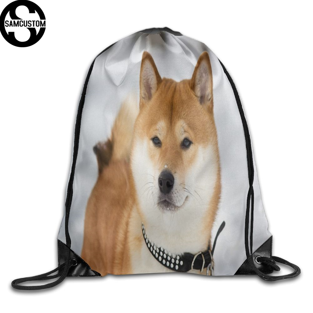 Samcustom 3d Print Shiba Inu Cute Shoulders Bag Fabric Backpack Men And Women Port Drawstring Travel Shoes Dust Storage Bags