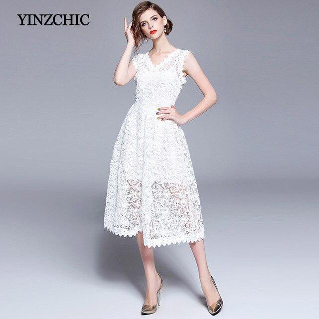 214c308bb0 Jakość Kobiety Białe Koronki Sukienki Hollow Out Koronka Mid Party Sukienka  Dla Kobiety Lato V-