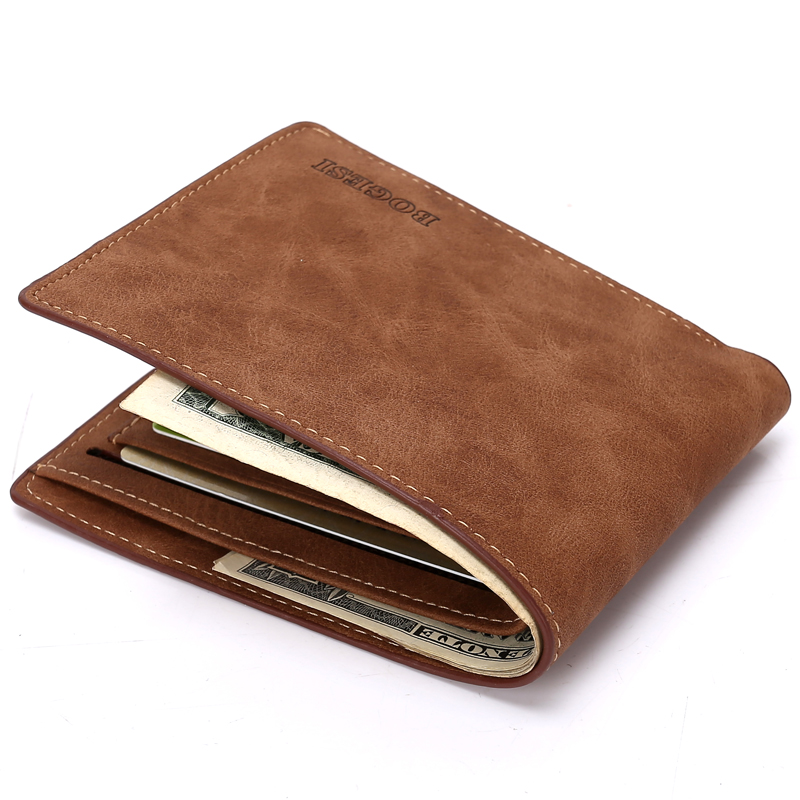 brand man leather short wallet famous brand casual no zipper wallet