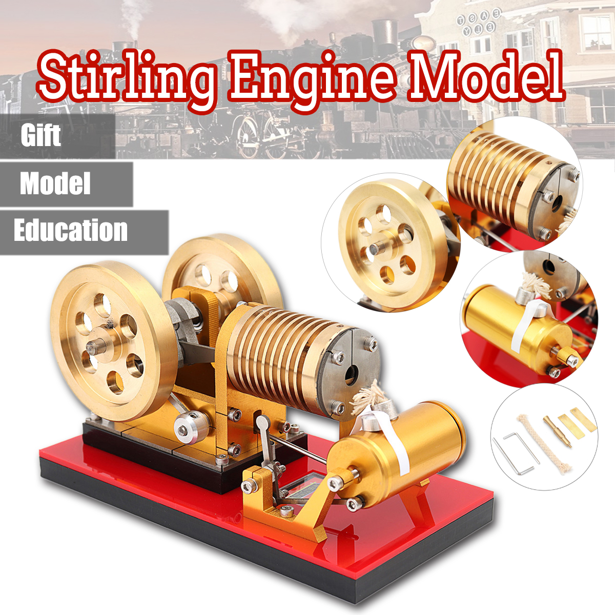 New Upgrade SH-02 Hot Air Stirling Engine Model Tractor Educational Science Discovery Toy Kits For Kid Children цены