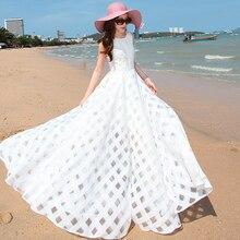 Wbctw высокое приталенное платье Для женщин белое платье плюс Размеры длинные 2018 сезон: весна–лето О-образный воротник, без рукавов длиной макси Vestidos черный Платья для женщин