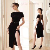 Short Sleeve Bandage Dress Black Nude Elegant Women Lace High Slit Slahs Neck Wedding Cocktail Midi