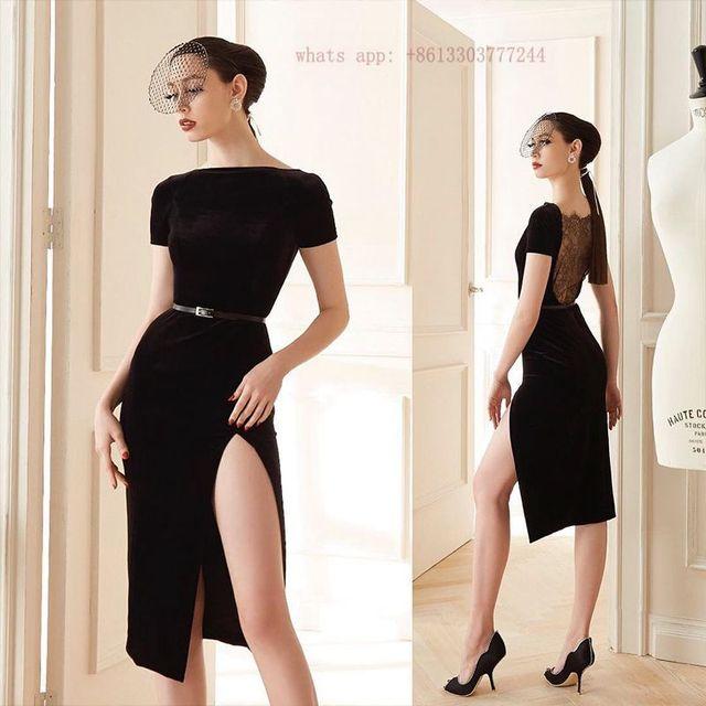 short sleeve bandage dress black nude elegant women lace high slit ...