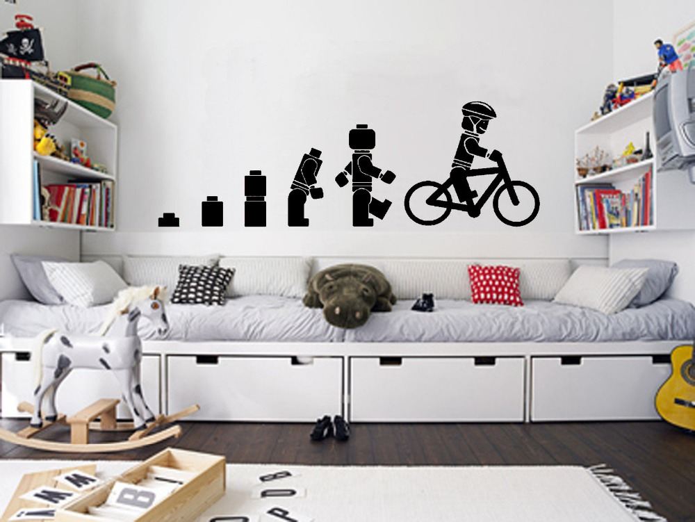 Evolution Of The Cycling Lego Man Wall Art Sticker Childrens Vinyl - Lego wall decals vinylaliexpresscombuy free shipping lego evolution decal wall