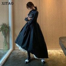 [XITAO] однобортное женское платье, весна-лето, воротник-стойка, длинный рукав, сплошной цвет, а-силуэт, бандаж, длина до щиколотки, DLL2255