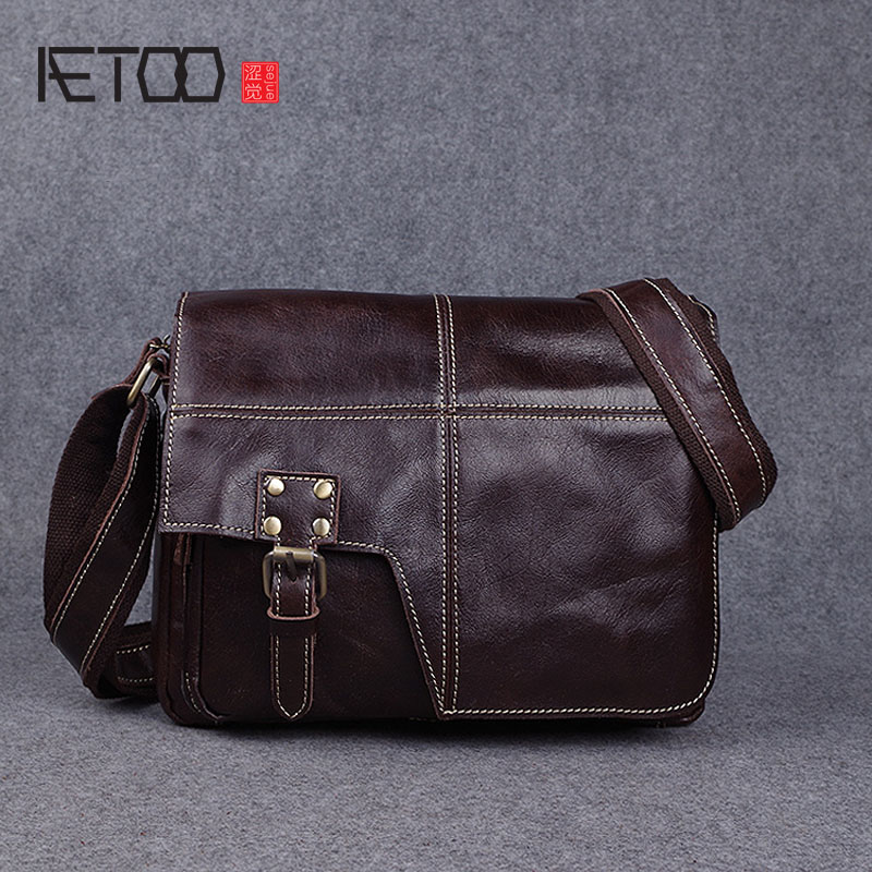 AETOO Casual bag retro handmade leather bag leather shoulder Messenger bag crazy horse skin men bag cross section new 2016 men s shoulder bag man bag portable diagonal cross section korean version of casual travel bag crazy horse