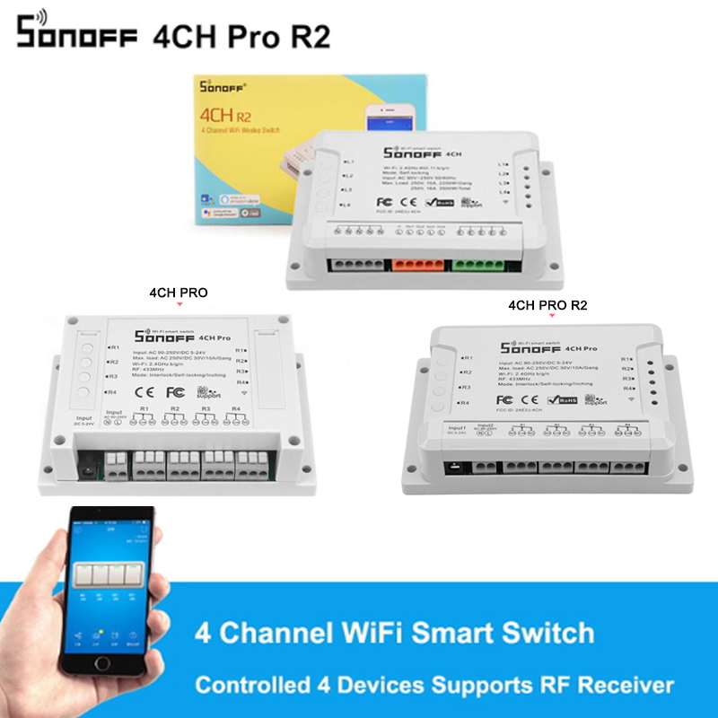 Sonoff 4CH R2 /4CH PRO R2 4 Gang 433MHZ Din Rail Mounting Wireless WIFI Smart Switch Home Automation Modules Light Remote 2200W|home automation module|wifi switch module|module light -