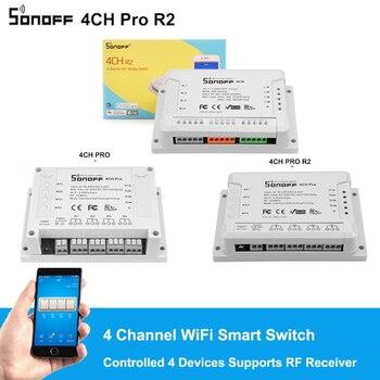 Sonoff 4CH R2/4CH PRO R2 4 Gang 433MHZ Din Rail montaje inalámbrico WIFI interruptor inteligente módulos de automatización del hogar Luz remota 2200W