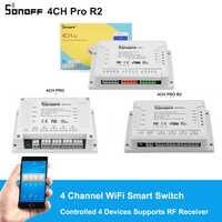 Sonoff 4CH R2/4CH PRO R2 4 Gang 433MHZ montaje en carril Din inalámbrico WIFI interruptor inteligente hogar automatización módulos luz remota 2200W