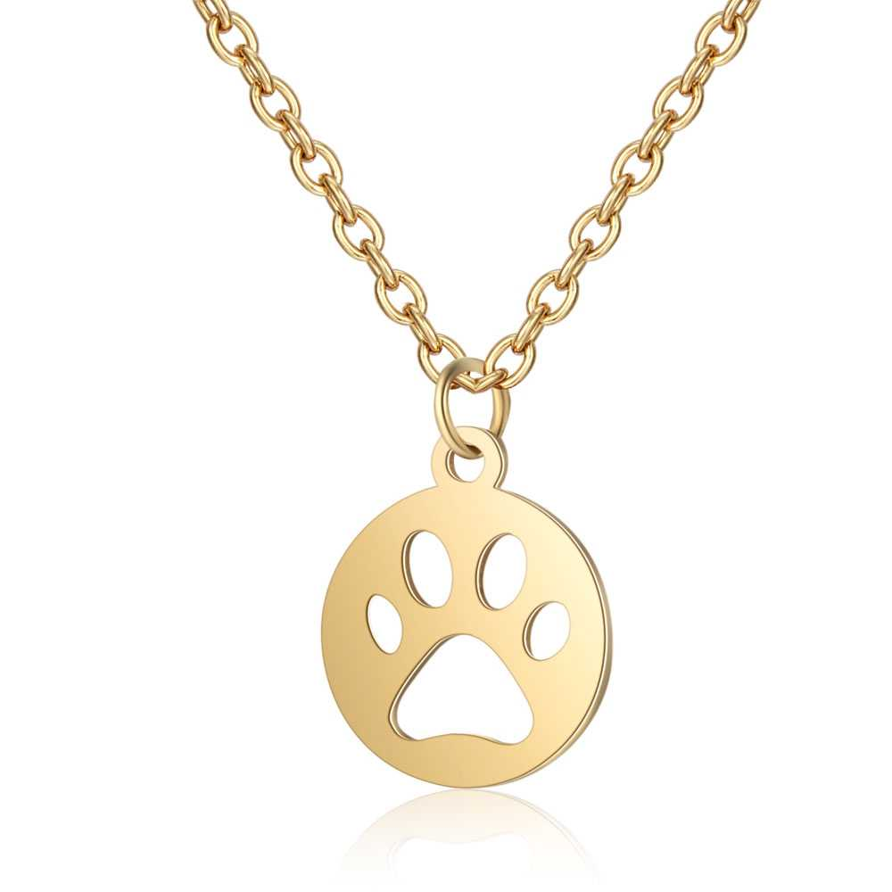 Todorova Stainless Steel Dog Cat Paw Print Long Necklace Men Jewelry Puppy Memorial Pendant Necklace Women Animal Pet Lover Gift