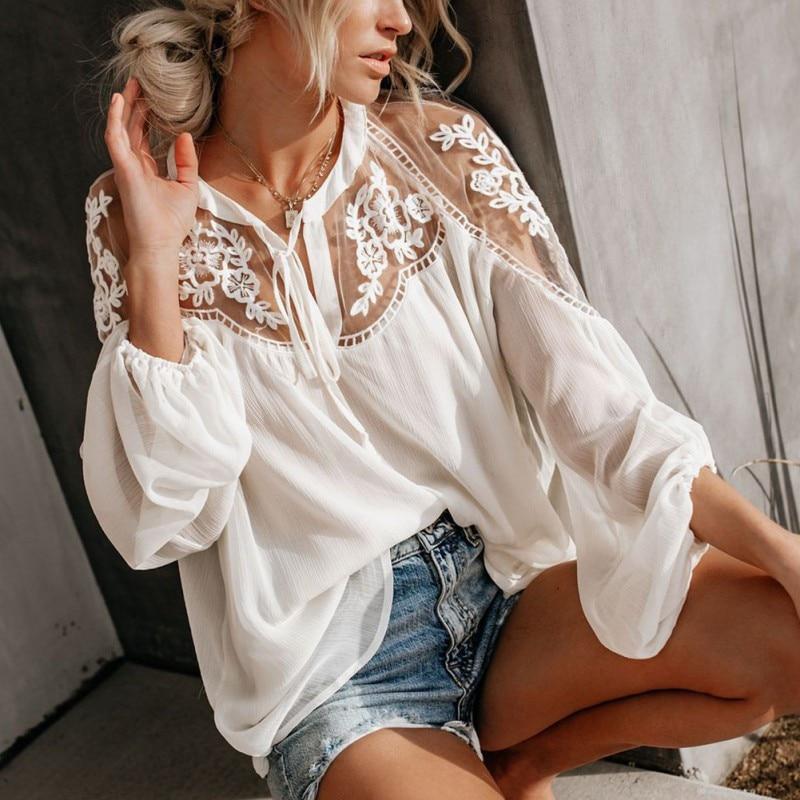 Ladies Boho Mesh Lace Hook Flower Lantern Sleeve Loose Short Chiffon Blouse Shirts Women Fashion Long Sleeve Casual Blouses Tops