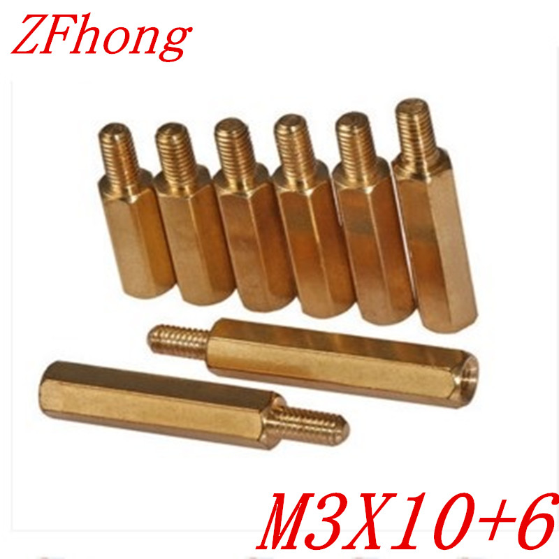 100PCS M3 x 10+6 M3*10 male to female brass standoff spacer