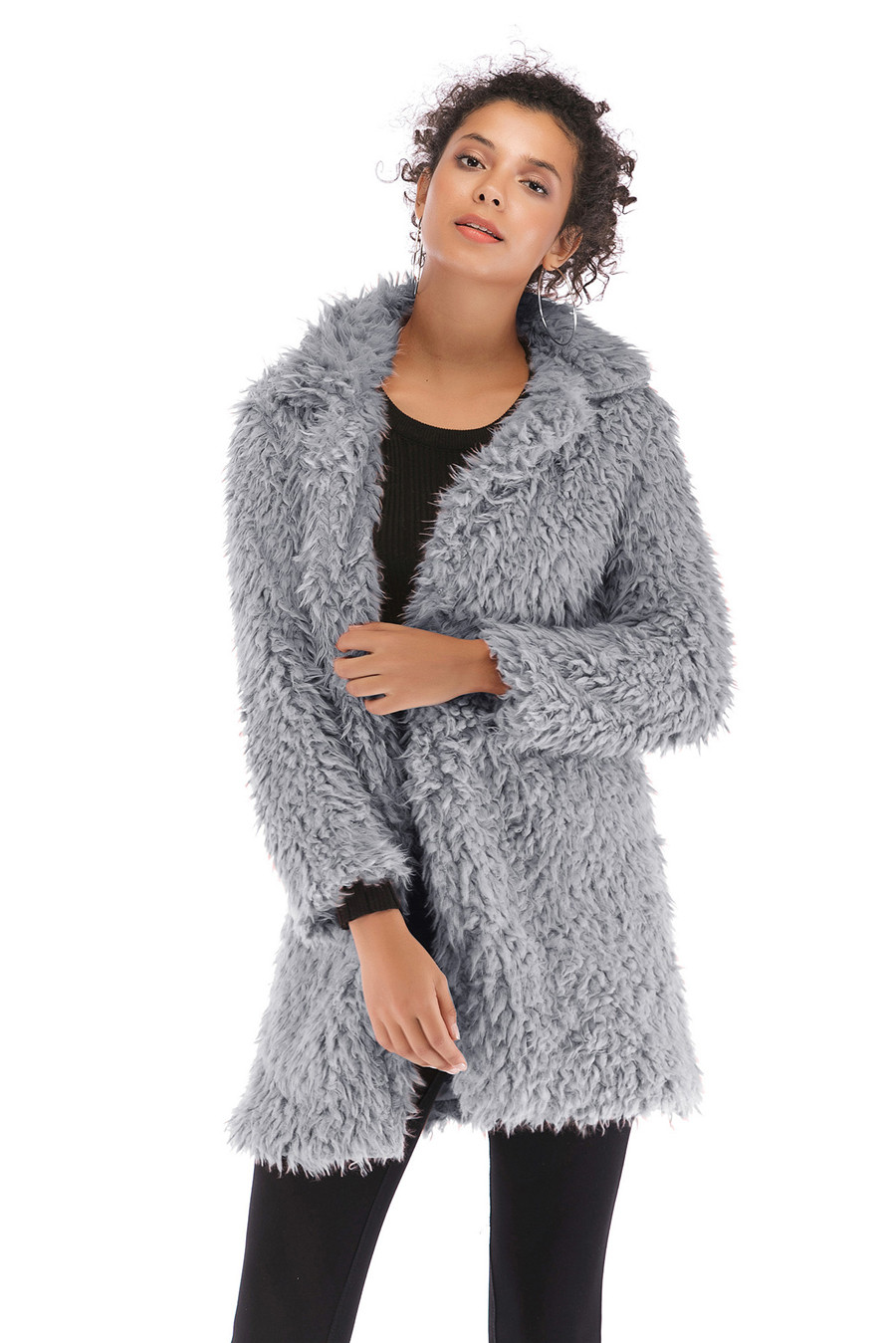 Gladiolus 2018 Women Autumn Winter Coat Turn-Down Collar Long Sleeve Covered Button Long Warm Shaggy Faux Fur Coat Women Jackets (18)