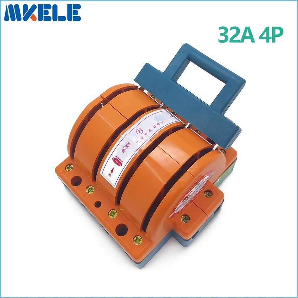 ФОТО  Heavy Duty 32A 4p Double Throw Knife Disconnect Switch Delivered Safety Knife Blade Switches Free Shipping