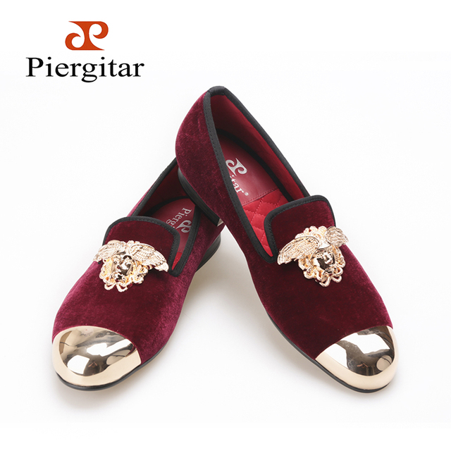 844df6fcf PIERGITAR New Velvet Shoes with gold toe and metal medusa design wine red  color Men's flats
