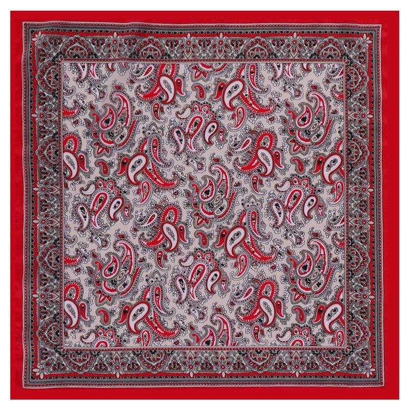 POBING 100% Silk Scarf Woman Cashew Pattern Small Square Scarves Luxury Bandanas Small Hijab Foulards Lady Tie Headband 53x53CM