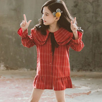 New Arrivals 2019 Red Khaki Plaid Autumn Dresses For Teens Girls Ruffles Petal Sleeve Bow Toddler Dress Kids Princess Clothing