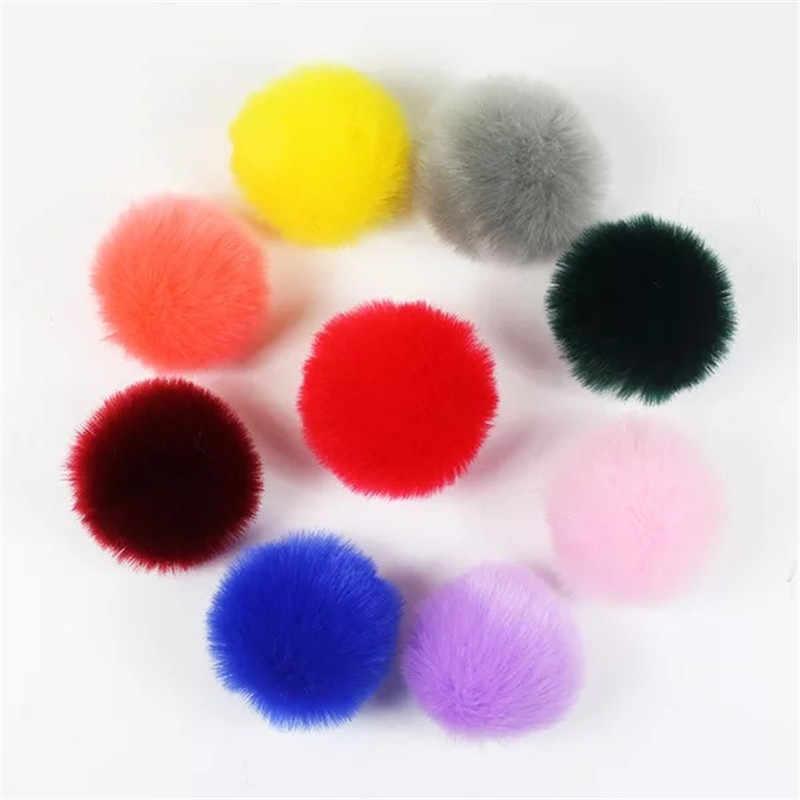 3 pcs 8 centímetros Bolas de Pompom Fofo Faux Pele De Coelho Pompons para Chaveiros DIY Jewelry Making Achados Acessórios Atacado 20 cores