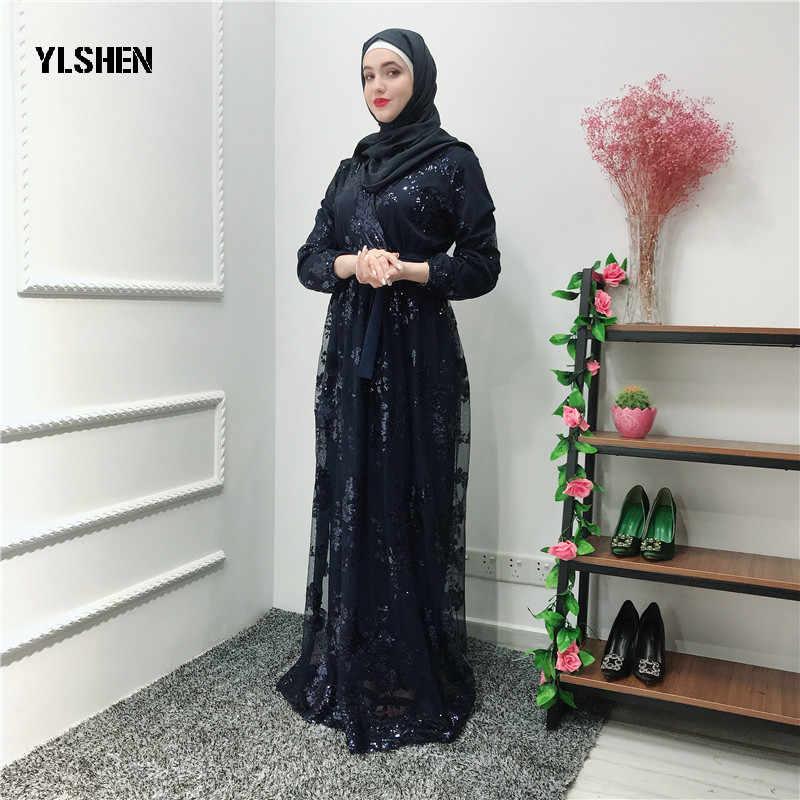 Luxo muçulmano ramadan vestido abaya dubai rendas bordado bronzeamento vestidos duplos cardigan robe vestido jubah oriente médio eid islâmico