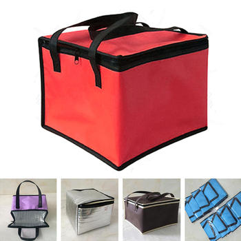 цена на Hot Insulated Thermal Cooler Bag Lunch Time Sandwich Drink Cool Storage Big Square Chilled Zip 4 Persons Tin Foil Food Bags New