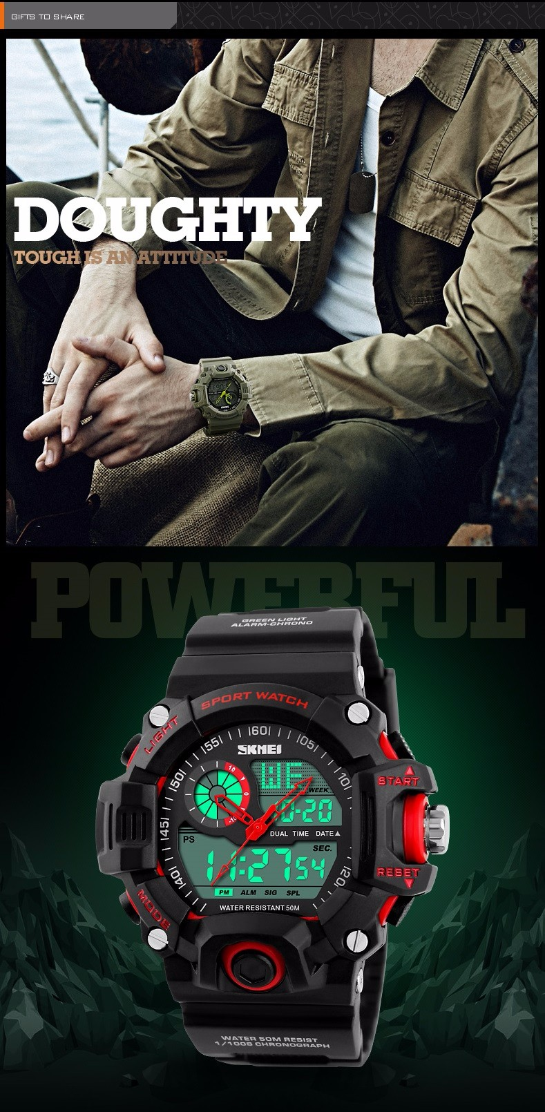 SKMEI SKMEI S-SHOCK Men LED Digital Army Military Watch