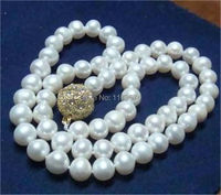 Free Hot New Charming Beautiful Fashion Jewelry Natural 8 9MM WHITE AKOYA CULTURED PEARL NECKLACE 18