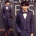 3 Pieces (Jacket+Vest+Pant) Costume Homme Mens Plaid Printed Prom Suits Latest Coat Pant Designs Wedding Suit For Man