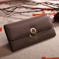 Korean fashion ladies leather multi card wallet first layer leather 2 fold lychee purse large capacity wallet clutch