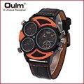 OULM 3594 Wrist Watch Men Quartz Military Fashion Leather Sport 3 Dial Time Famous Brand Men Sport Analog Wristwatch
