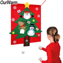OurWarm DIY Felt Christmas Tree Bean Bag Toss Game Gifts Hanging Indoor Outdoor for Kids