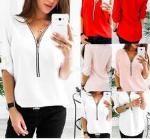 T Fashion V Neck Zipper T-Shirt Women Half Sleeve Loose Tee Tops Spring Summer Ladies Casual Solid Color T Shirt Camiseta Mujer chic round neck half sleeve pure color fringed t shirt for women