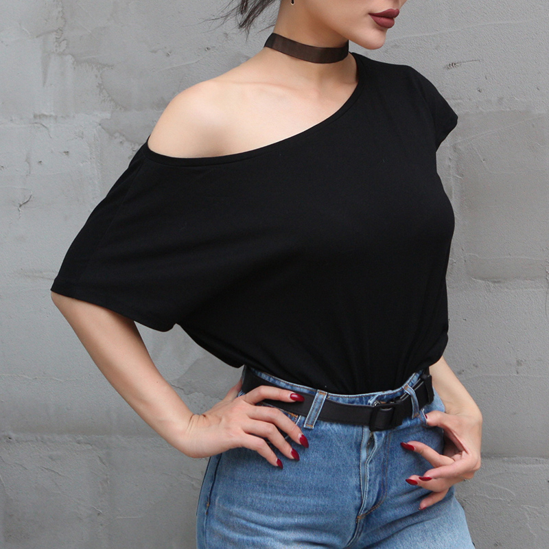 1e89af80830 2017 Summer Essential Type Off Shoulder One Side Tee Women Batwing ...