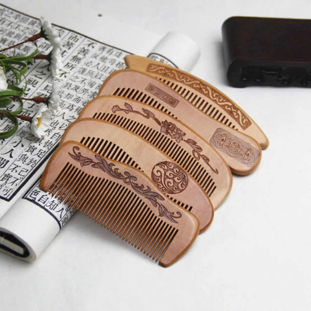 1 PC Natural Peach Wood Comb Close Teeth Anti-static Detangling Beard comb Head Massage Hairbrush Hair Care Tools For Travel