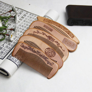 1Pcs Natural Peach Wood Comb Close Teeth Anti-static Detangling Beard comb Head Massage Hairbrush Hair Care Tools For Travel(China)