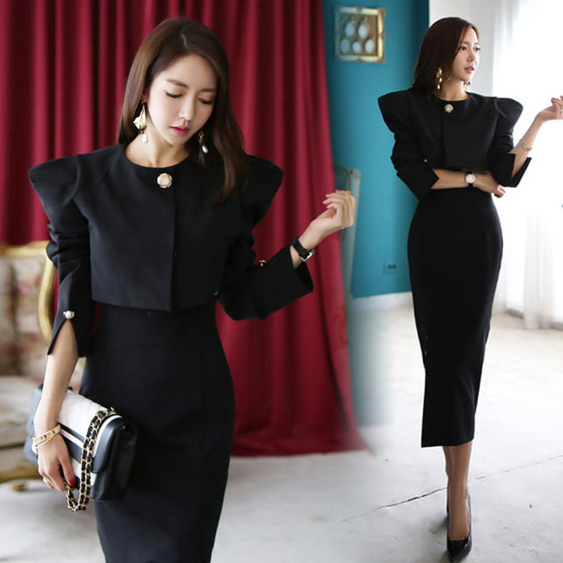 2 Two Pieces OL Set Women Short Round Neck Tops and Side Slit Pack Hip High Waist Skirt Elegant Suit Fashion Workwear Femme