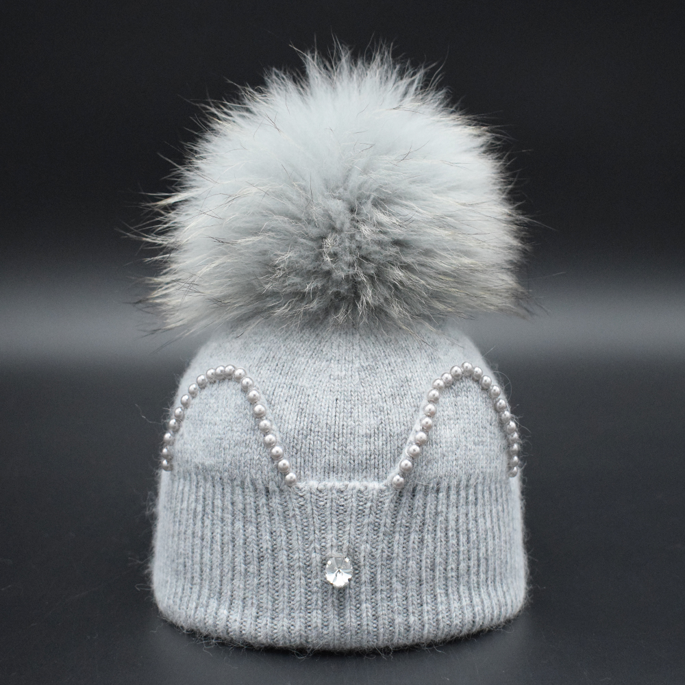 2017 New children caps Winter Baby Girs Beanies 22CM Real Fur Pompoms Warm Wool Knitted cap Kids Warm caps Lovely Ears Gorros knitted skullies cap the new winter all match thickened wool hat knitted cap children cap mz081