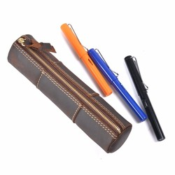 Genuine Leather Zipper Pencil Case Handmade Creative Stitching Pen Bag Storage Pouch Vintage Kawaii School Stationary Products