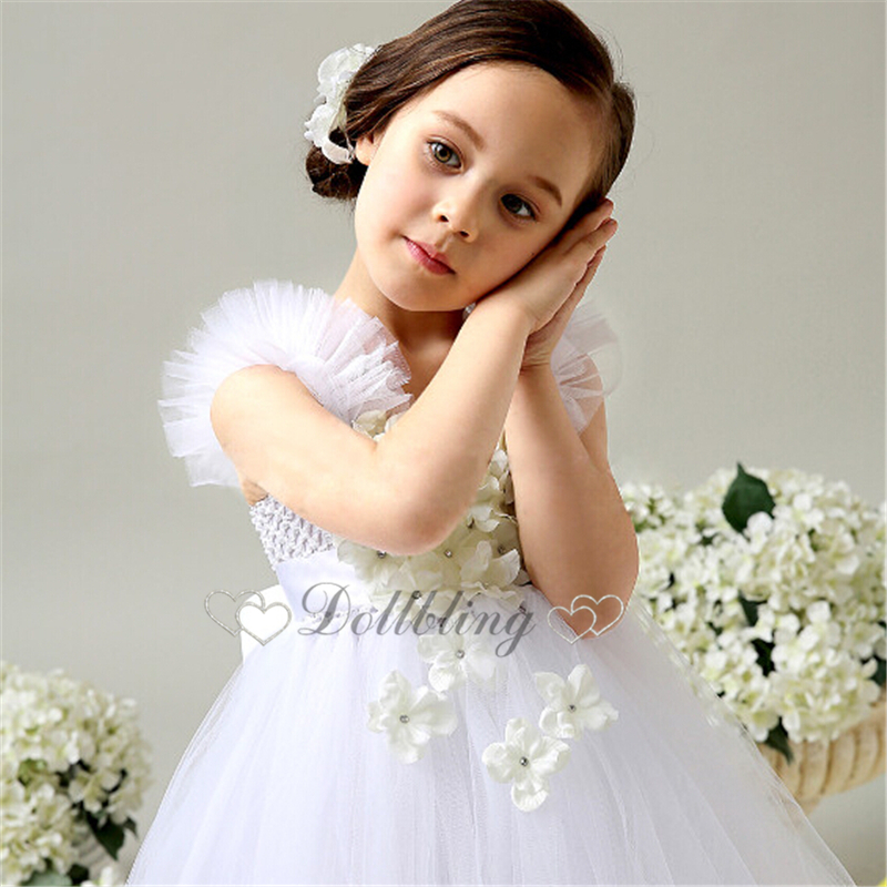 67a6fed26ef7 Ellie Bridal White Daisy Flower Toddle Tulle Sash wedding Gown Boho ...