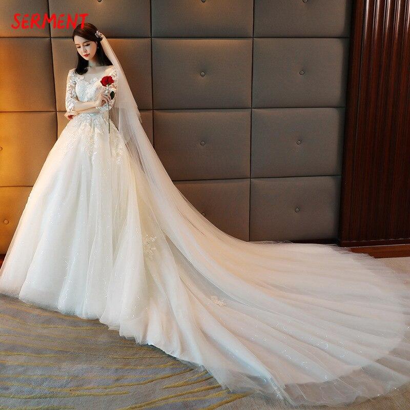 2019 Wedding Summer Word Shoulder New Sleeves Wedding Dress Was Thin Big Tail Wedding Custom Large Size in Wedding Dresses from Weddings Events