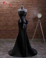 Jark Tozr Custom Made Simple Formal Gowns Long Abendkleider 2018 Pleat Black Satin Mermaid Evening Dresses