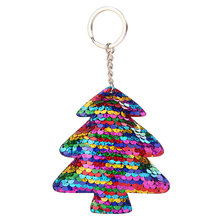 1 Pcs Cute Sequin Cactus Sequins Christmas Tree Key Chain Keychain Women Handbag Car Keyring Gift Trinket Jewelry Accessories(China)