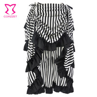Corzzet Black&White Victorian Ruffles Asymmetrical Front Adjustable length Gothic Long Skirt Costume Sexy Steampunk Clothing