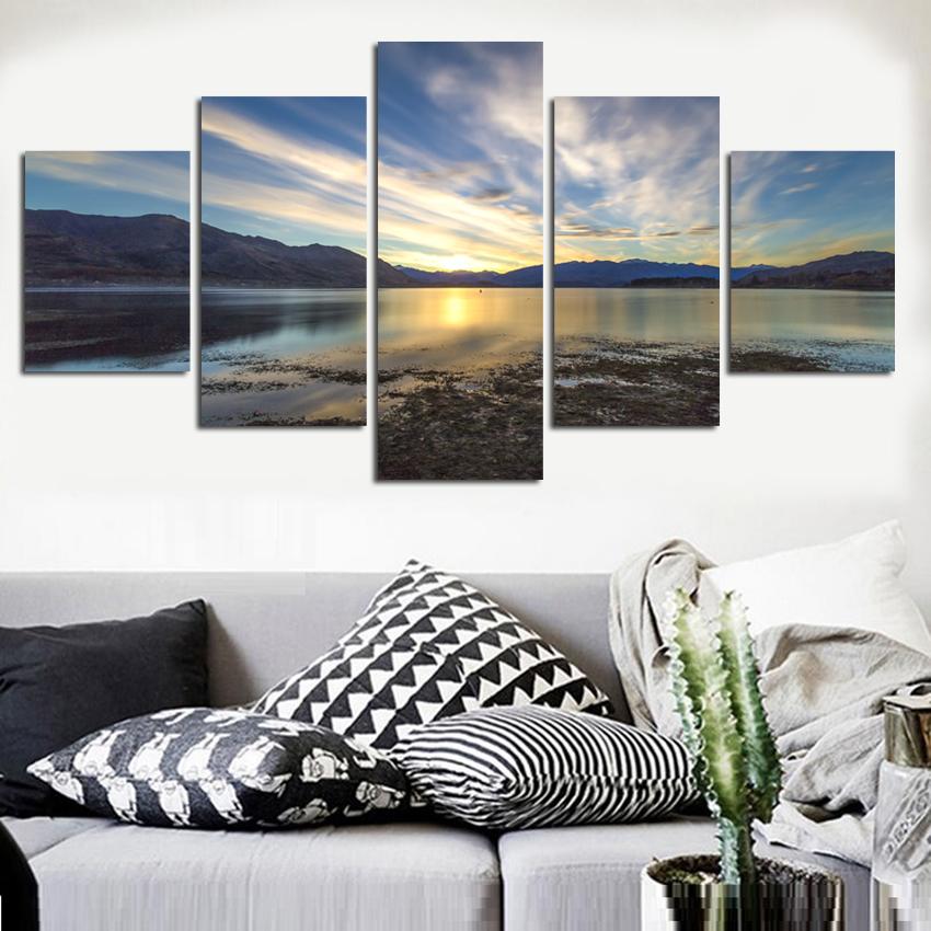 Modern Mountain And River Landscape Canvas Painting 5 Pieces Wall Art Spectacular Sunshine Picture For Living Room FA515 1