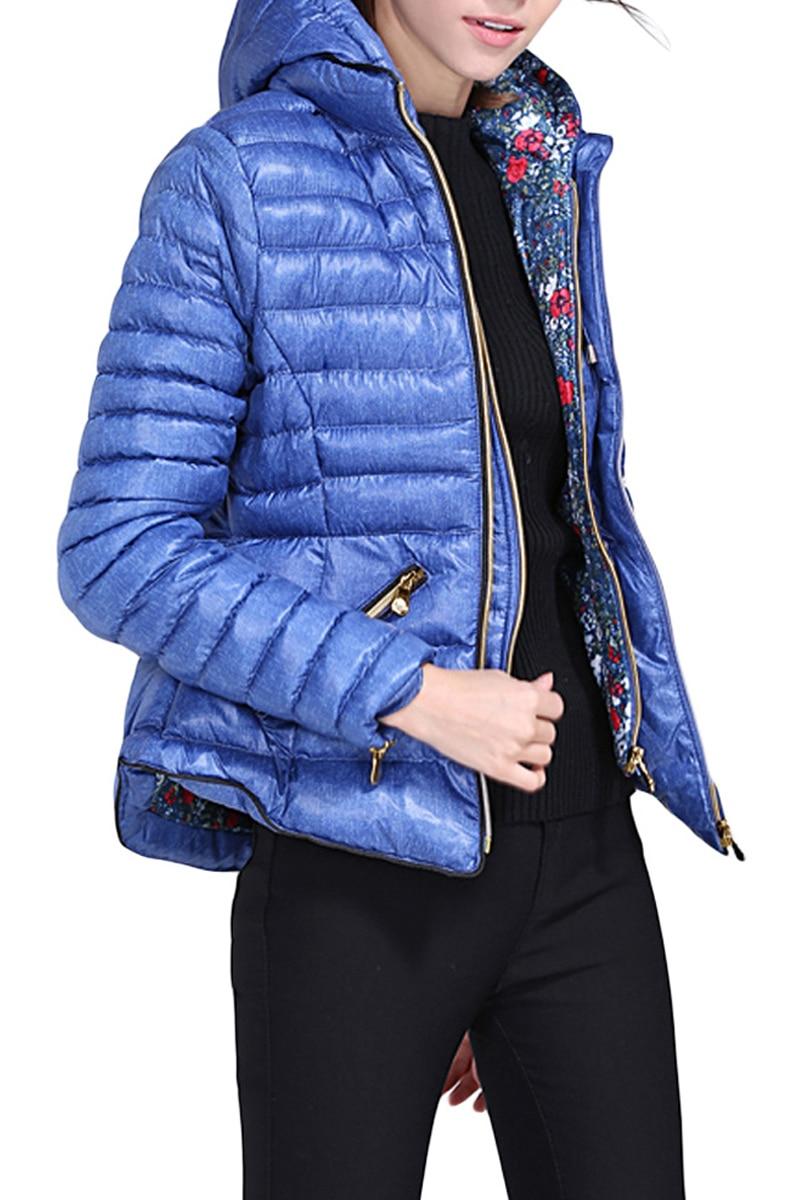 Arrivée Zippées Casual Bleu Nouveau ardoisé Veste Poches Avec gris Lgy85199 À Gris D'hiver Foncé Capuche De Femmes Coton 2018 Bleu qZ45XnS5