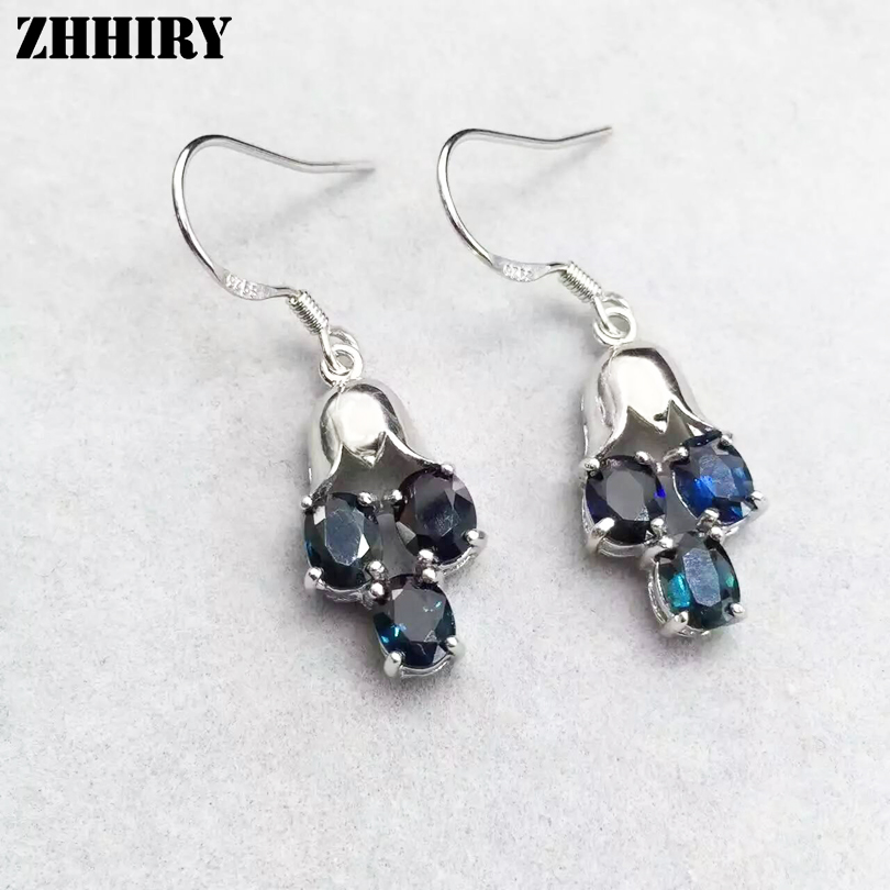 Natural Sapphire Earrings Genuine Solid 925 Sterling Silver Real Gem Stone Drop Earrings Women