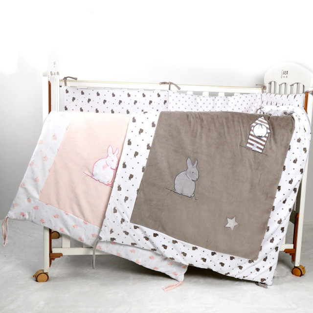 velvet baby crib bedding comforter with rabit embroidery,cotton cot baby bedroom quilt, newborn baby duvet