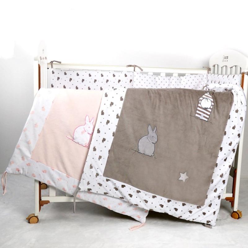 ჱTerciopelo bebé cama cuna edredón con bordado RABIT, algodón