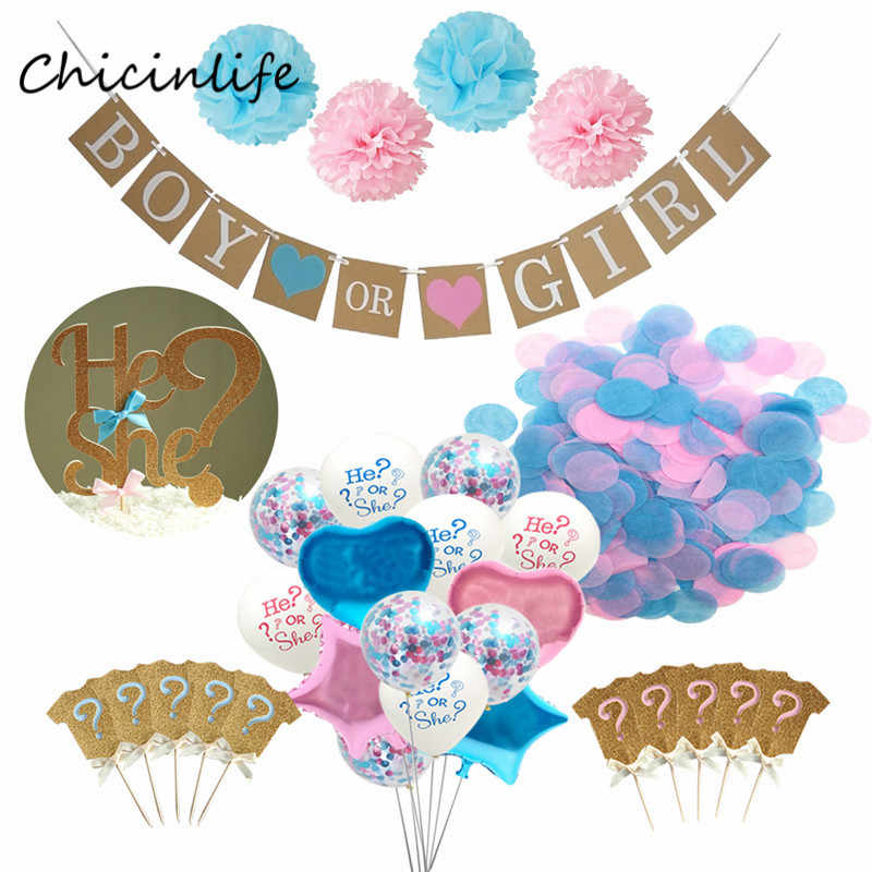 Chicinlife Boy or Girl Banner Pompom Flower Pink Blue Confetti Balloons He She ? Cake Topper Gender Reveal Party Decoration