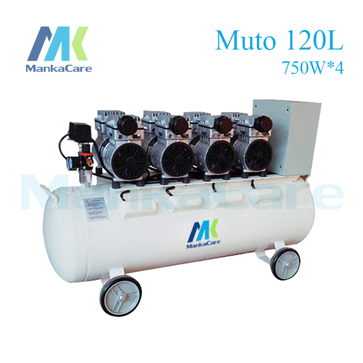 Manka Care 3000W Dental Air compressor 120L Tank Oil Free Rust-proof chamber/Tank/Silent/Flush air pump/ Dental Medical Clinic manka care 25l 750w dental air compressor printing in tank rust proof chamber silent oil less oil free compressing machine