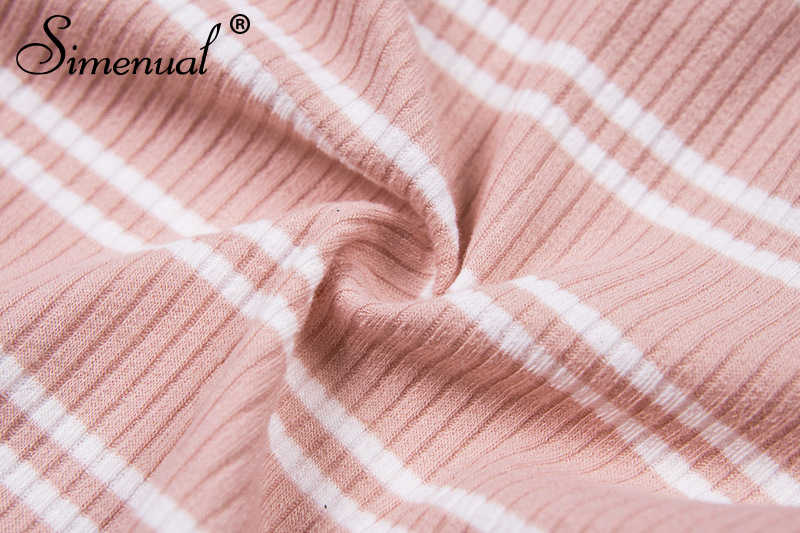 Женское боди с открытой спинкой Simenual, полосатое облегающее боди на шнуровке со спущенными плечами и длинными рукавами, цвет розовый, осень
